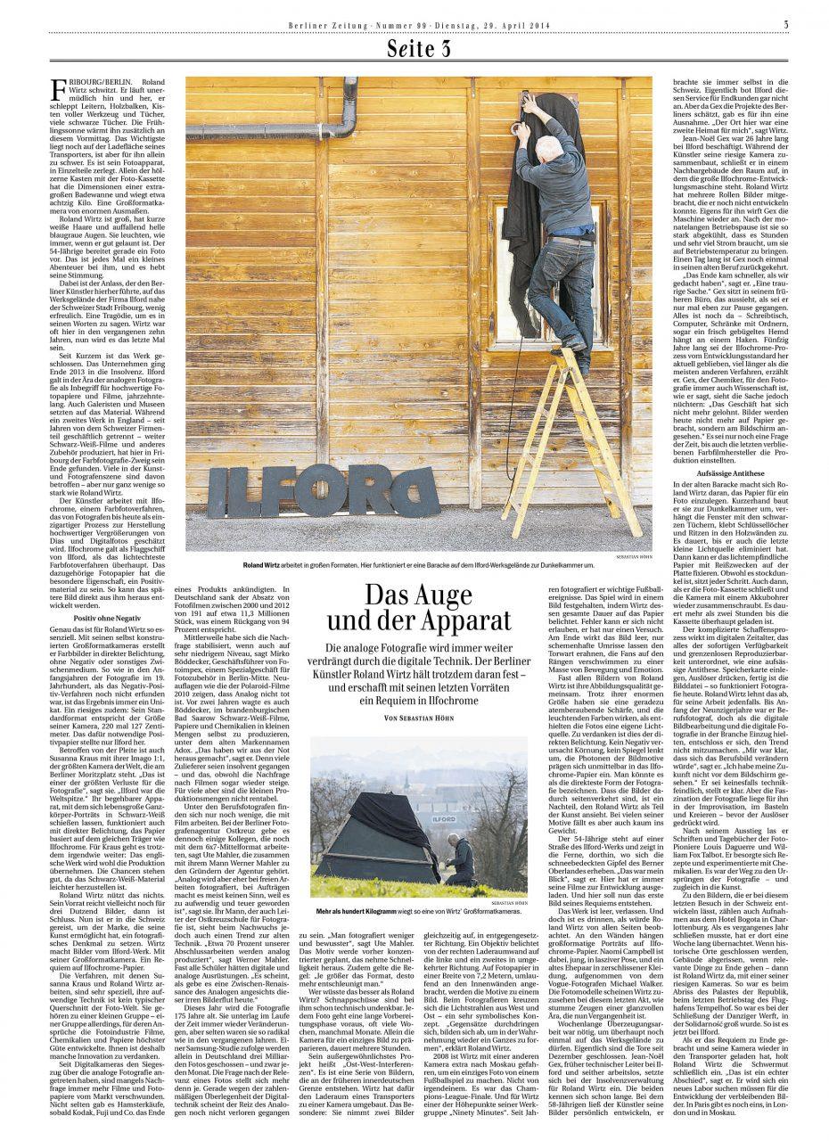 Reportage über Roland Wirtz in der Berliner Zeitung